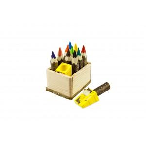 Kunterbunt Holzzstifte: Zwergen Komplett Set: 20 Holzstifte und ein Anspitzer in der Holzkiste - Holzspielzeug Pofi