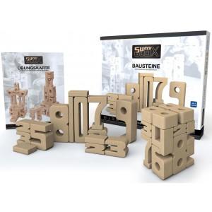 SumBlox Holzbausteine: Basic Set mit 43 Zahlen Bausteinen - Holzspielzeug Profi