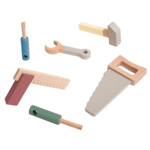 sebra Werkzeug Set mit 6 Teilen in warmgrau - Holzspielzeug Profi