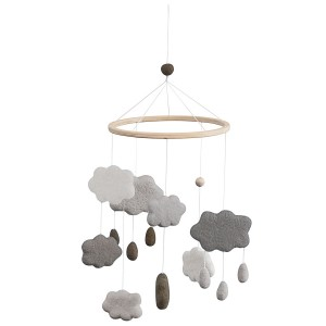 sebra Filz-Mobile Wolken warmes grau - Holzspielzeug Profi