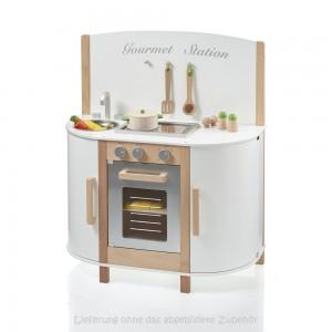 SUN Kinderküche Gourmet Station in weiß: (ohne Zubehör) - Holzspielzeug Profi