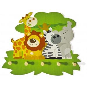 Kindergarderobe Tierversammlung Wildtiere von Weizenkorn - Holzspielzeug Profi