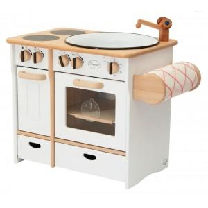 Drewart Kinderküche Kombi weiß mit Handtuchhalter - Holzspielzeug Profi