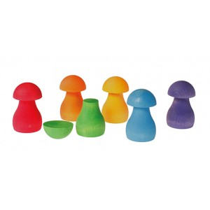 GRIMM´S Sortierspiel Regenbogen-Pilze bunt