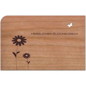 """Holzpost Grußkarte """"Herzlichen Glückwunsch Blumen & Vogel"""": Vorderseite- Holzspielzeug Profi"""