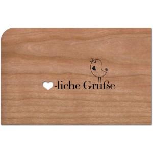 Holzpost® Grußkarte Herzliche Grüße Vogel