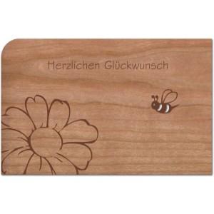 Holzpost® Grußkarte Herzlichen Glückwunsch Biene & Blume