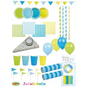 JaBaDaBaDo Party-Set Dotti blau-gelb (100 Teile)