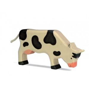 HOLZTIGER Kuh grasend, schwarz