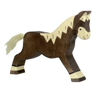 HOLZTIGER Pferd laufend dunkelbraun - Holzspielzeug Profi