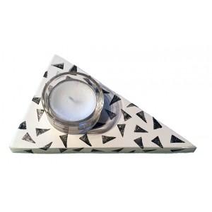Teelichthalter Konfetti schwarz-weiß
