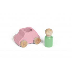 Lubulona Rosa Spielzeugauto mit Holzfigur
