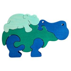 Tedefamily Puzzle Nildpferde Flusspferde - Holzspielzeug Profi