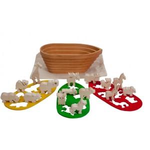 Tedefamily Arche Noah klein: 3 Schablonen, 15 Tiere - Holzspielzeug Profi