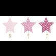 JaBaDaBaDo Wandhaken Sterne hellrosa - rosa - pink (3er Set) - Holzspielzeug Profi