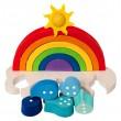 Tedefamily Regenbogen-Puzzle: Detail Regentropfen Rückseite mit Punkten - Holzspielzeug Profi