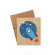 Lubulona Holzbild Illustration Rakete